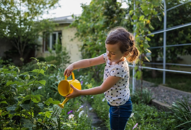 Portrait of a little girl assistant watering vegetables in the garden