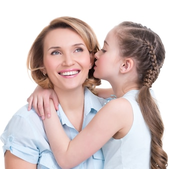 Ritratto di una bambina che dice a sua madre un colpo segreto in studio