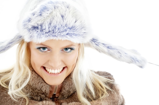 Portrait of lovely beauty in winter clothes