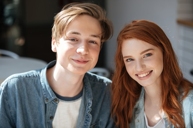 Portrait of lovely redhead students