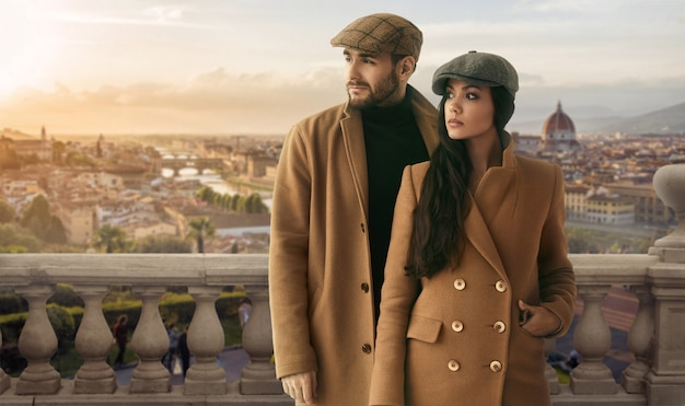 Portrait of a loving couple dressed in a yellow fashion coat