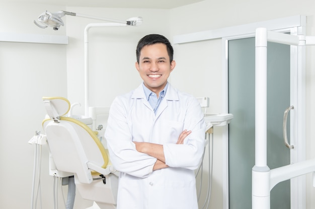 Portrait of male dentist .he standing in dentist office