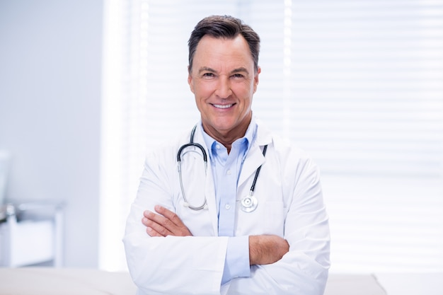 Portrait of male doctor standing with arms crossed