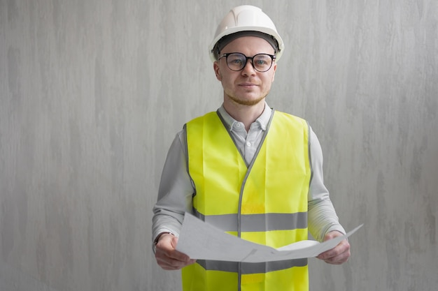 Portrait of a male engineer at work a european male designer or architect at the site