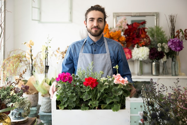Portrait of a male florist holding the colorful hydrangea flowers in crate