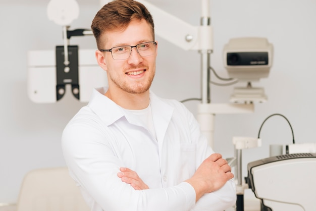 Portrait of a male optometrist