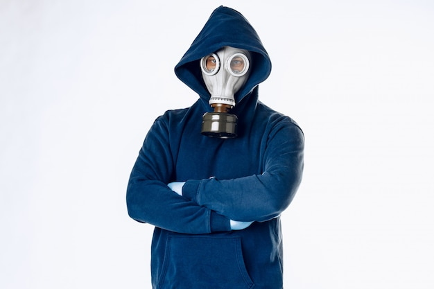 Portrait of a man in a gas mask