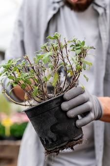 Портрет мужчины, выращивающего растения