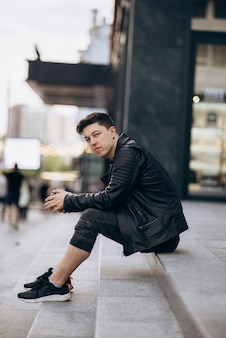 Portrait of man look around stylish clothing wear