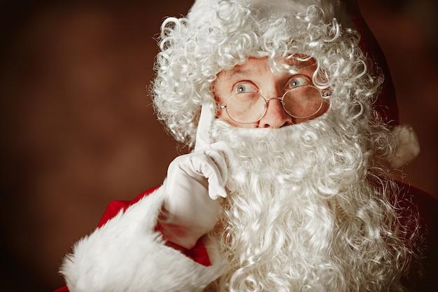 Portrait of man in santa claus costume