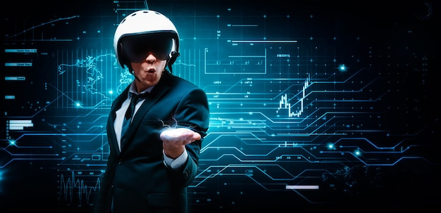 Portrait of a man in a suit and helmet. he put out a palm in which an electric charge. business concept. stock market. brokers and traders.