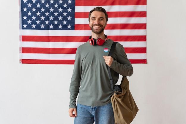Portrait of man on voter registration day