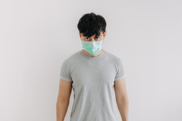 Portrait of man wear mask isolated on white background