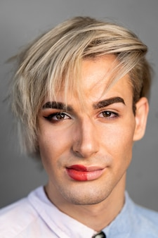 Portrait of man wearing make-up on half his face