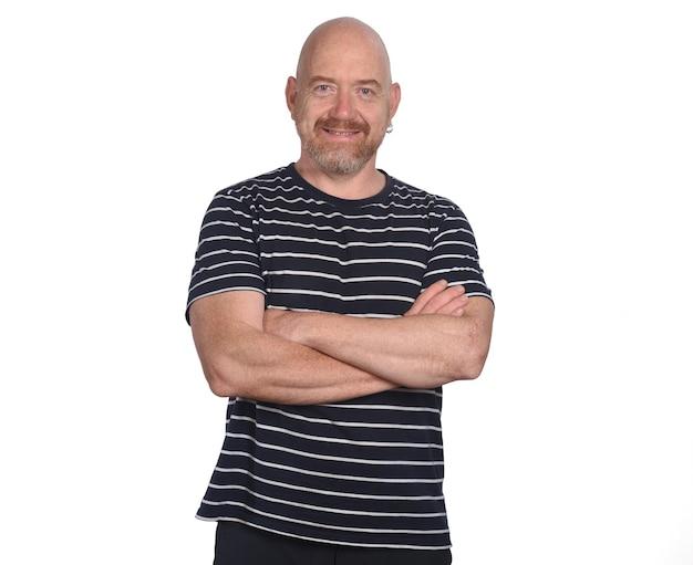 Portrait of a man wearing striped t-shirt