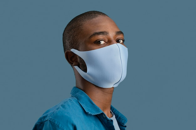 Portrait of man with face mask