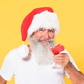 Portrait of man with tropical and christmas concept