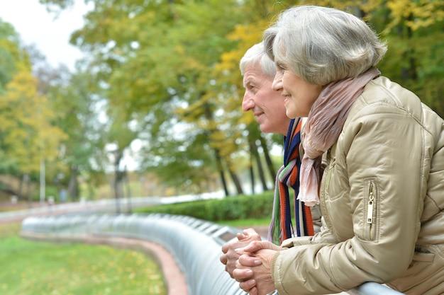 Portrait of a mature couple having fun in the autumn park