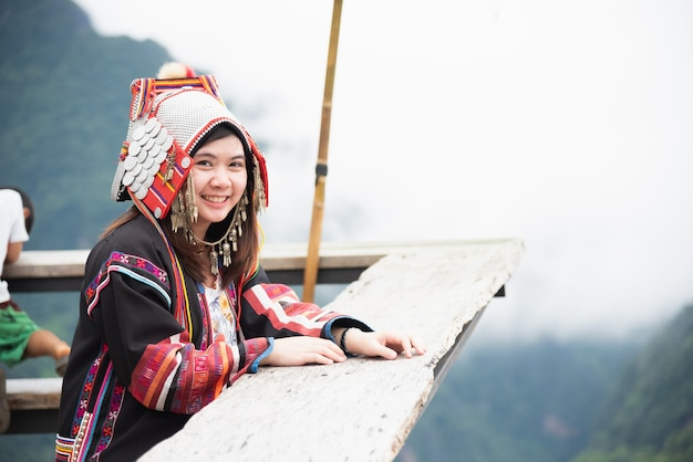 Portrait mhong hill tribe woman on the mountain