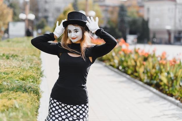 Portrait of a mime comedian.