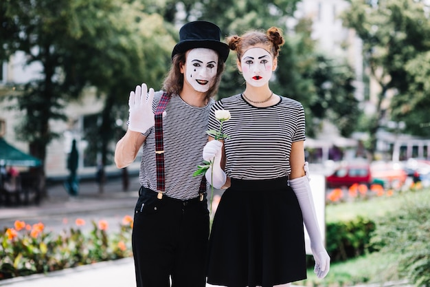Portrait of a mime couple