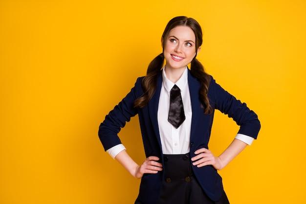Portrait of minded positive teenager look copyspace plan ponder scholarship courses