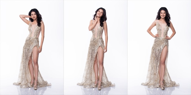 Portrait of miss asian pageant beauty contest in sequin evening ball gown long dress, studio lighting white background, collage group pack of full length body isolated