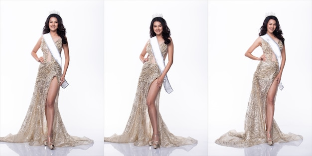 Portrait of miss asian pageant beauty contest in sequin evening ball gown long dress with sparkle light diamond crown, studio lighting white background, collage group pack of full length body isolated