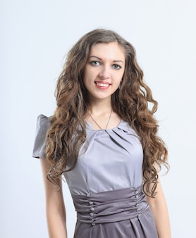 Portrait of a modern young girl in a fashionable dress.isolated on white background