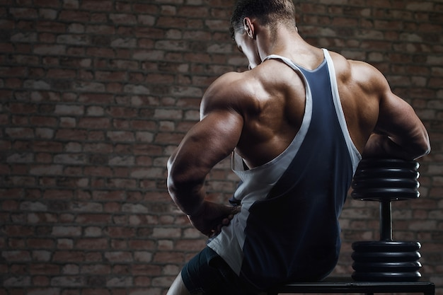 Portrait of a muscular man in gym