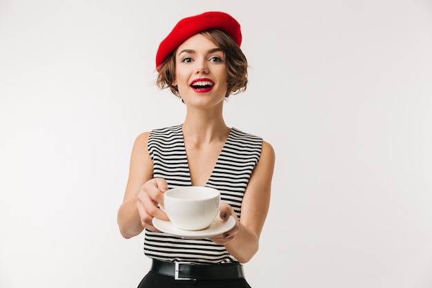 Portrait of n excited woman wearing red beret