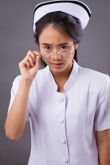 Portrait of a nurse wearing eyeglasses