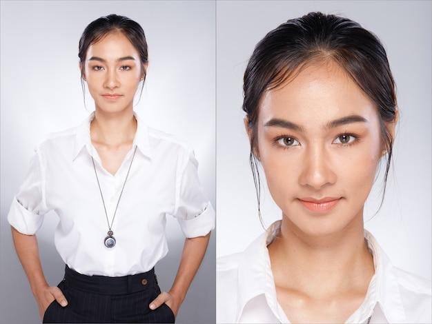 20代のアジアの女性の肖像画は、バーテンダーのキャリアとしてチョッキの白いシャツを着ています。彼女はスマートに見え、孤立した灰色の背景の上にカメラに微笑んでいます。