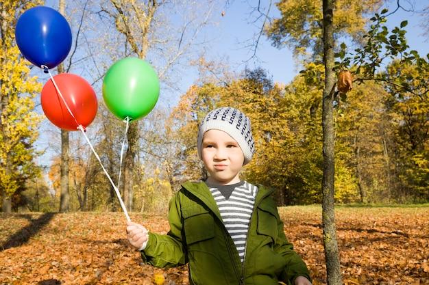 秋の季節に公園を歩いている美しい少年の肖像画