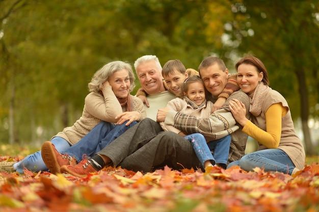 秋の公園の大家族の肖像画
