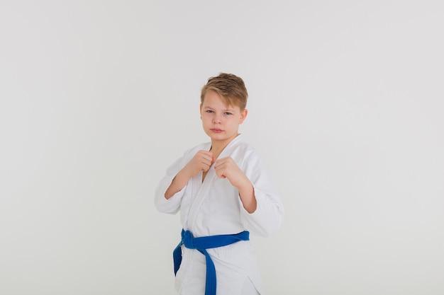 흰색 배경에 포즈에 서있는 파란색 벨트와 흰색 기모노 소년의 초상화
