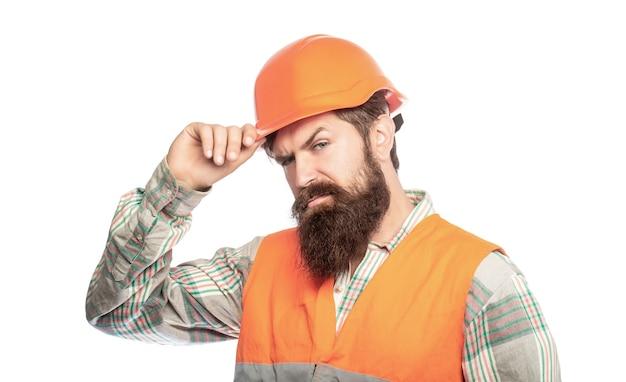 작성기의 초상화입니다. 건설 유니폼에 노동자입니다. 남자 빌더