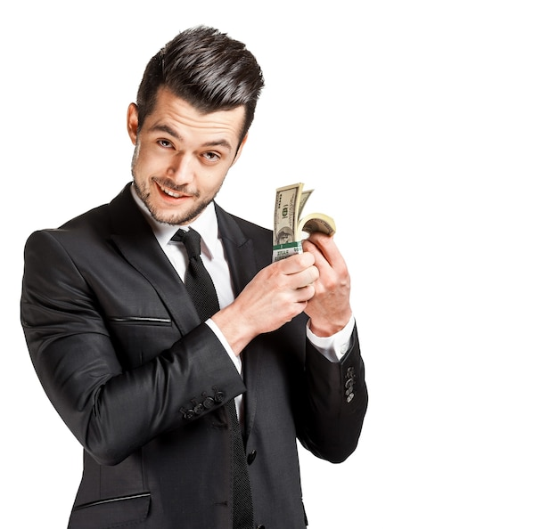 Портрет делового человека, держащего деньги