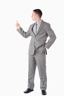Портрет бизнесмена, указывая на что-то
