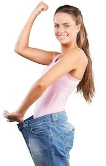 체중 감량을 축 하 하는 여자의 초상화