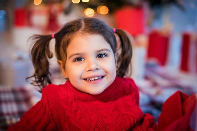 빨간 드레스에 밝은 갈색 눈 아기 소녀의 초상화