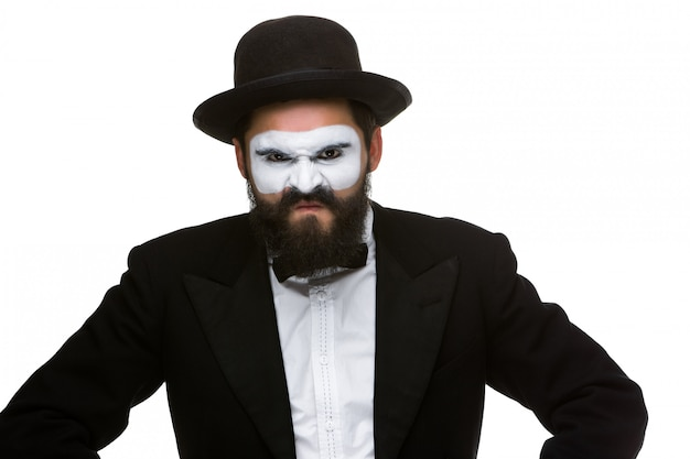 化粧mimeで軽的な男の肖像