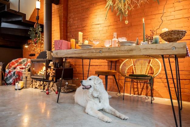 Портрет милой собаки, лежащей под столом в красиво оформленном к новогодним праздникам интерьере
