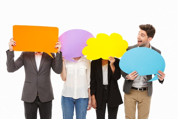 Портрет группы счастливых многорасовых деловых людей