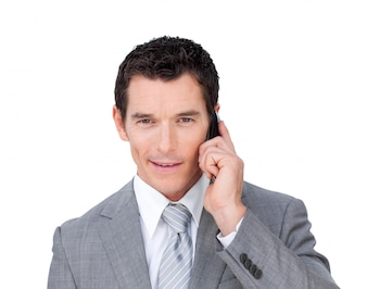 Portrait of a handsome businessman on phone