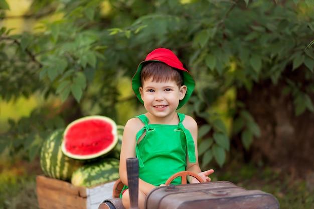 幸せな男の子の屋外の肖像画。