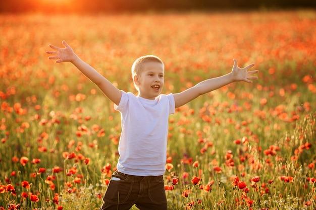 여름에 양 귀 비 필드에 행복 한 소년의 초상화