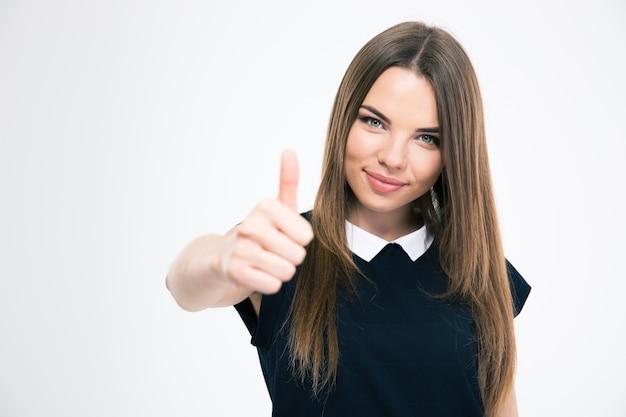 分離された親指を現して幸せな女の子の肖像画