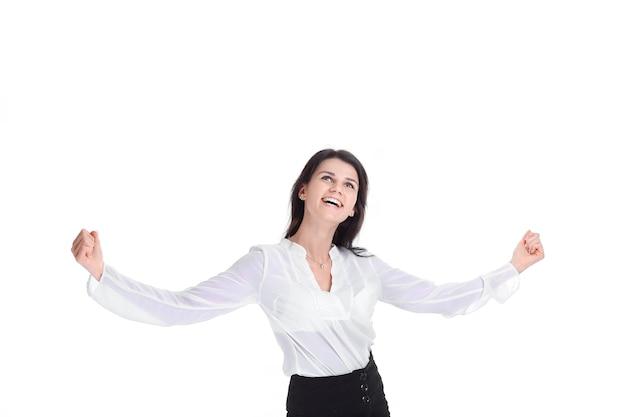 행복 한 젊은 비즈니스 여자의 초상화입니다. 흰색 배경에 고립