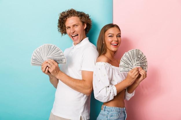 행복 한 젊은 커플의 초상화